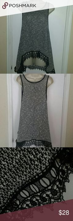 Grey and black lace top Cute top for summer! Moon Collection Tops