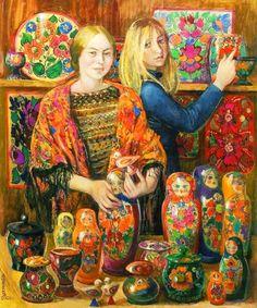 Inna Shirokova (n. Dietro il banco , olio su tela, 120 x 100 cm, collezione privata. Alex Colville, Russian Folk Art, Ukrainian Art, Andrew Wyeth, Akira, Inna, Doll Painting, Matryoshka Doll, Wooden Dolls