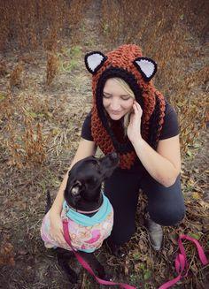 Fox hoodie / dog sweater