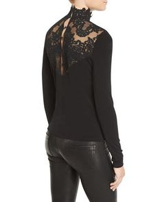 TCYK5 Alice + Olivia Jennine Lace-Yoke Long-Sleeve Top