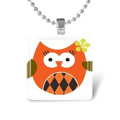 Glass Tile Pendant Owl Pendant Owl Necklace With by IncrediblyHip, $7.50