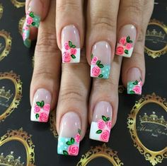 Nails with floajres - Best Nail Art Fabulous Nails, Gorgeous Nails, Pretty Nails, Funky Nail Art, Cute Nail Art, Beautiful Nail Designs, Beautiful Nail Art, Manicure E Pedicure, French Tip Nails