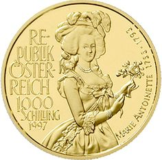 1000 ÖS 1997 Mary Antoinette. 16 g. Fine gold. In capsule. Nice 238. proof coinage