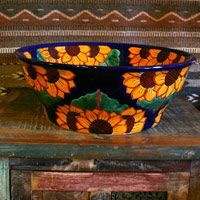 Love the idea of a traditional ceramic sink, but want more of it? Try special ordering a vessel sink from any of the designs we have in stock at Mexican Tile Designs!