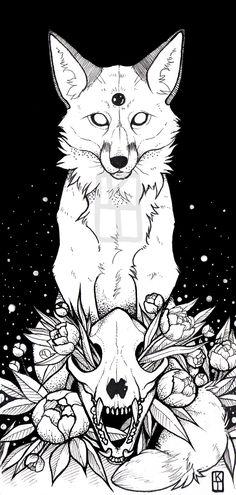 Art of Krista Tyni Badass Drawings, Dark Art Drawings, Animal Drawings, Tattoo Drawings, Body Art Tattoos, Drawing Sketches, Tattoo Crane, Witchy Wallpaper, Fuchs Tattoo