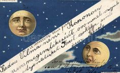 Artist Postcard Faces of the Moon litho