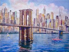 Brooklyn Bridge and Seagull - by Erik Freyman (American artist)