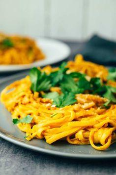vegane Pasta mit Paprika Nuss Sauce Rezept