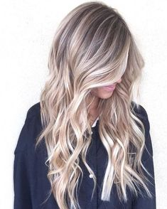 wavy long ash blonde hair