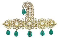 An 18th century Indian emerald and diamond sarpech.