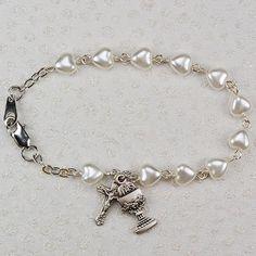 6 1 2 White Pearl Heart First Communion Bracelet Diamond Bracelets