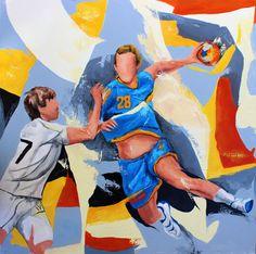 Fenix Toulouse Handball - Peinture,  80x80 cm ©2014 par Jean-Luc Lopez -                                            Peinture contemporaine, Sports, Fenix, Toulouse, handball, sport, Valentin, Porte, mouvement, lopez