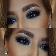Navy Blue Smokey Eye for Brown Eyes
