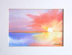 watercolor sunrise scene - Google Search