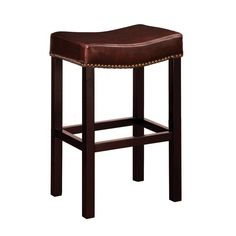 """Armen Living Tudor Backless 30"""" Stationary Barstool In Antique Brown leather With Nailhead Accents Mbs-013"""
