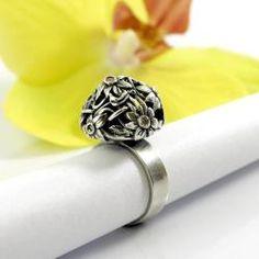 kwiatowy,srebrny pierścionek,Marta Grzywna - Pierścionki - Biżuteria