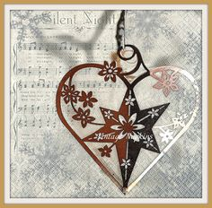 SALE *** TWO Paper napkins for DECOUPAGE - Christmas Heart with Music Notes C012 by VintageNapkins on Etsy