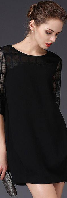 Black Round Neck Sheer Gauze Dress