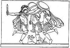 The Kouretes dancing around the infant Zeus, as pictured in Themis by Jane Ellen Harrison (1912, p. 23; see References section below).