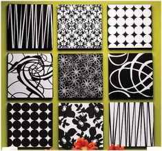 Styrofoam covered squares. What an inexpensive way to add a splash of color or design to a room.