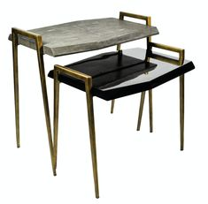 Lyon  Side Tables  Contemporary, Transitional, Lacquer, Metal, Natural Material, Side  End Table by Carlyle Collective