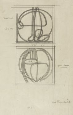 Charles Rennie Mackintosh (1868-1928) - Design Drawings for Two Leaded Glass Panels. Pencil on Paper. Designed for their Home & Studio at 120 Mains Street, Glasgow, Scotland. Circa 1900. 34.7cm x 23cm.
