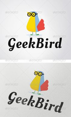 Geek Bird Logo — Vector EPS #bird logo #glass • Available here → https://graphicriver.net/item/geek-bird-logo/3008442?ref=pxcr