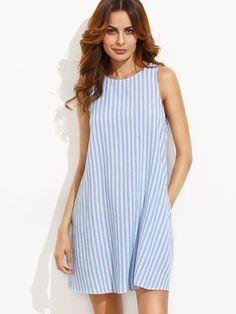 Сине-белое полосатое платье