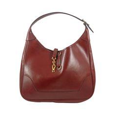 Vintage Hermes Burgundy Trim Bag in Box Leather 30 cm | From a collection of rare vintage shoulder bags at https://www.1stdibs.com/fashion/handbags-purses-bags/shoulder-bags/