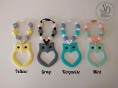 Owl Silicone Teething Ring - Select colors - baby teething sensory toy teether teething toy chewing beads Carrier Teethe by SDDesignsCa #SDDesigns #Etsy #Handmade #Teether #Mommies