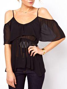 Blusa de rayón con tirantes de estilo informal - Milanoo.com