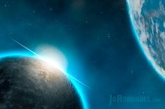 Sunrise in space causes a Light Flare behind the Moon with Earth visible in the background. Sunrise, Flare, Moon, Earth, Fantasy, Bengal, The Moon, Sunrises, Fantasy Movies