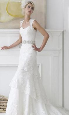 Lace gown with beaded belt