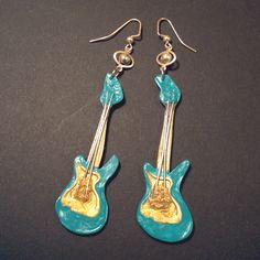 Turquoise and gold painted guitar polymer clay earrings with wire strings jewelry by www.facebook.com/glowMonster