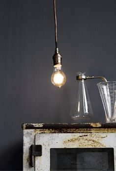 The Well Lit Man: 10 Lamps to Live and Work By — Inside Man : Apartment Therapy Edison Lighting, Pendant Lighting, Edison Bulbs, Edison Lamp, Industrial Pendant Lights, Pendant Lamp, Industrial Style, Home Modern, Mid-century Modern