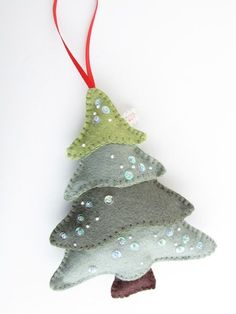 felt tree - I can see making a bunch of these for Christmas gifts and/or package toppers. Maybe a weekend project idea to do with Mom?