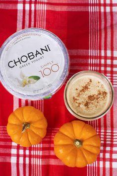 Pumpkin Spice Smoothie made with Chobani Simply 100 Vanilla Greek Yogurt.