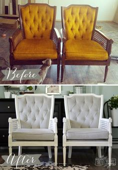 Vintage midcentury cane chairs painted white and reupholstered in grey cotton velvet. Reupholster Furniture, Paint Furniture, Furniture Makeover, Home Furniture, Chair Makeover, Furniture Chairs, Bedroom Furniture, Furniture Ideas, Smart Furniture