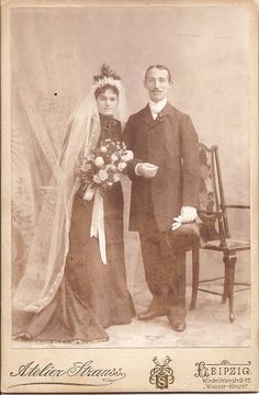 Karl and Marie Agotz Wedding Day, October 1902, Leipzig, Germany.