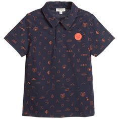 Kenzo Boys Blue Cotton Polo Shirt at Childrensalon.com