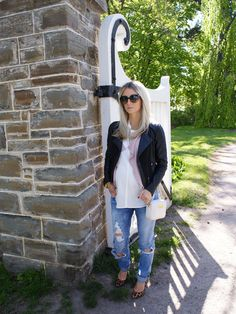 The Minted Mama: Distressed denim and pretty pink maternity style