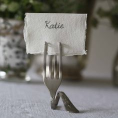 Silver Fork Place Card Holders - Set Of 4 - The Wedding of My Dreams