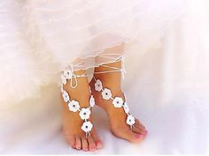 White Nude Crochet Bridal Barefoot Sandal Feet Jewelry