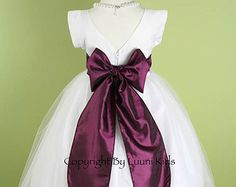 Flower Girl Dress - WHITE V-Back Dress with Purple PLUM Sash - Communion, Easter, Junior Bridesmaid, Wedding - From Toddler to Teen (FGBAW)