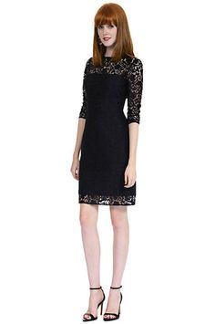Kay Unger New York Sheer Detail Lace Shift Dress in Black aaecb7d7a5