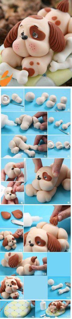 Как сделать собаку, щенка из мастики?