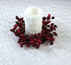 9 Christmas Traditions Red and Burgundy Mixed Berry Pillar Candle Holder Ring *** See this great product.