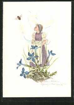 Künstler-AK Schwarz-Torino: Mädchen in einem Blumenbeet beobachtet eine Biene 0