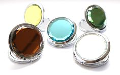 Glass Jeweled Compact Mirror