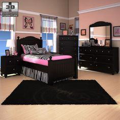 Ashley Jaidyn Poster Bedroom Set Model in Bedroom Splatter Paint Bedroom, Bedroom Posters, Bedroom Images, House Inside, Cottage Design, Beautiful Space, Kids Bedroom, Cribs, Toddler Bed